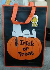 "Peanuts Snoopy Halloween Canvas Trick or Treat Bag 12""x18"" Black/Orange New"