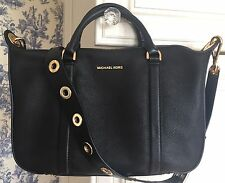 MICHAEL KORS $368 Raven Large Leather Satchel Convertible Shoulder Bag Black NWT