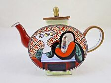 Vintage Picasso Inspired Brass Enamel Miniature Teapot