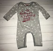 Paper Wings Boutique I Do Believe In Fairy Dust Romper Gray Stars 6 Months