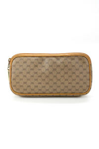 Gucci Womens Leather Vintage Logo Clutch Brown Gold Tone