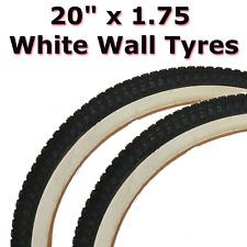 2x White Wall Tyre 20 x 1.75 (47-406) Retro Classic BMX Childrens Bike