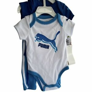 Puma Baby Boy Outfit 3 piece  Infants 0-3 month Blue Logos