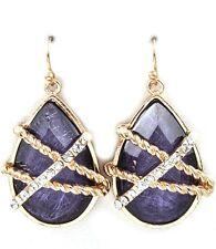 Jewel Tone Cabachon Crystal Stud Teardrop Earrings  Purple Goldtone