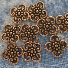 Antique Copper Alloy Metal Flowery Connectors 16 Pieces 12mm  #0248