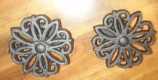 Set/2 ~ Black Cast Iron Open Floral Shape Drape Holder Curtain Tie Back