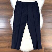 Jil Sander Women's Size 42 Navy Blue Tapered Leg Wool Mohair Dress Pants Slacks