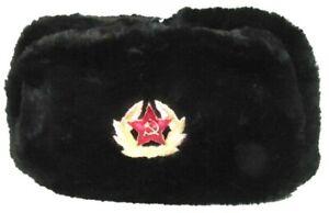Russische Fellmütze (SCHWARZ) Uschanka Pelzmütze Schapka Russland Armeemütze