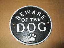 """Cast Iron """"Beware Of Dog"""" Door Sign Plaque"""