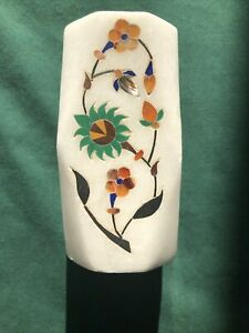 White Marble pen holder w Inlay stone, unique made in India