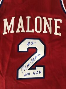 Perfect Condition Moses Malone Autographed Philadelphia 76ers Jersey - 2001 HOF