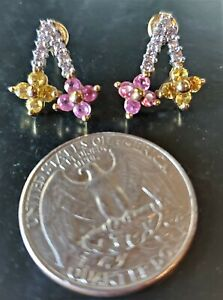 10K GOLD EARRINGS WITH DIAMONDS AND CITRINE STONES