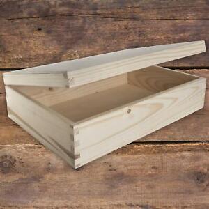 Rectangular Wooden Lid Boxes | Keepsake Memory Trinket Storage Plain Pine Craft
