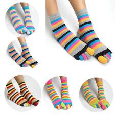 Fashion Women's Girl Colorful Striped Five Finger Toe Socks Rainbow Sock 1 Pair
