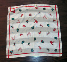 """Vintage Christmas Scarf Holiday Print Striped Gloves Hats Scarves 20"""" x 20"""""""