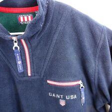 Gant USA Sweatshirt Mens Size L Rugger Fleece 1/4 Zip Pullover Jacket Navy Blue