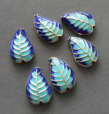 4pcs-2 sided enamel blue leaf space beads,Cloisonne leaf space beads