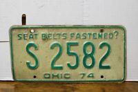 Vintage 1974 Ohio License Plate S 2582 Man Cave Decoration (1V)