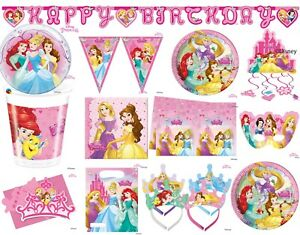 Disney Princess Party Tableware Decorations Girls Birthday Supplies Belle Ariel