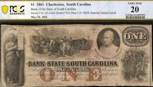 1861 $1 DOLLAR BILL SOUTH CAROLINA BANK NOTE LARGE PAPER MONEY CIVIL WAR PCGS VF