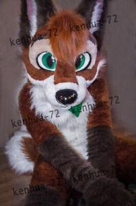 Long Fur Husky Dog Fox Mascot Costume Fursuit Halloween Suit Cosplay #181