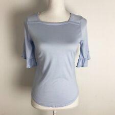 Loft Women's Blouse Top Career Ruffle Sleeves Baby Blue Very Soft Petit Small