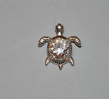 """Unmarked 3/4"""" Silver Sea Turtle CZ Clear Crystal Pendant"""