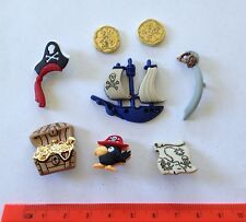 Pirate novelty buttons ship parrot coins Dress It Up Jesse James Buttons 4045