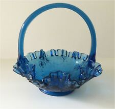 Vintage Fenton 1980's Colonial Blue Rose 8 inch Basket