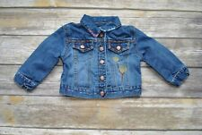 Baby Gap Jean Jacket Girls 18-24 mos Embroidered Tree Clouds Sun Blue Denim