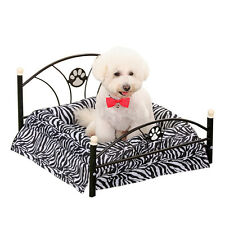 Pet Bed Dog Cushion Upscale Metal Frame Mattress Included Dog Cat Warm Zebra Bed