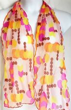 "Vintage Scarf Sheer Pink Orange & Yellow Circles Design 56"" Long Nylon"