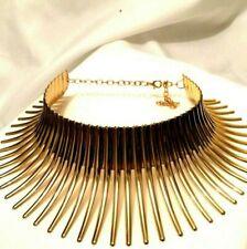 Womens Statement Chunky Long Big Large Gold Spike Collar Choker Necklace Punk