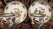 """2 WHIELDON """"Pheasant"""" demitasse cups  and saucers Polychrome"""