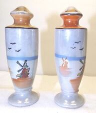 """Vintage Trico Salt & Pepper Sharkers Hand Painted 5"""" x 1 1/2"""" Windmill & Birds"""