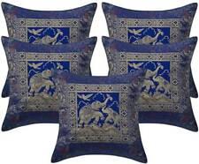 Cushion cover indian elephant brocade silk sofa pillow home ethnic decor 5 PCs