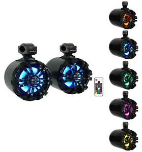 "2) Rockville WB65KLED 6.5"" 600w Black Marine Wakeboard LED Tower Speakers+Remote"