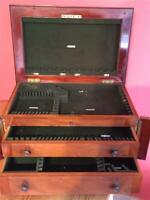 Edwardian Empty Wooden Campaign Style Cutlery Box Chest Cabinet Brass Rodgers