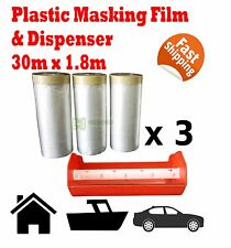 4pcs PLASTIC MASKING FILM TAPE 30M X 1.8M DISPENSER COMBO PAINTING ROLLS SHEET