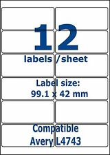 12 Labels compatible 500 sheets L4743 printer address adhesive sticky peel