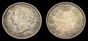 Canada 1858 Queen Victoria Silver Twenty 20 Cent Piece Toned VF+ Weak Strike