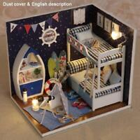 LED Light Wooden 3D DIY Dollhouse Miniature Furniture Doll House Kids Toys Gifts