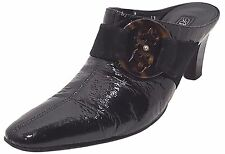 BRIGHTON Italy Black Patent Leather Slip On Mule Heel Shoe Women US 7 UK 5