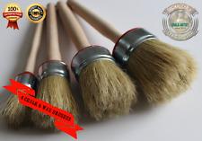 #BR4a - 4 Round Paintbrushes, Pure Bristle Wax & Chalk Paint Set 20,25,30,35mm