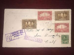 #107,135x2,143x2 on Nice 1928 registered cover, Rusholme Toronto (Dpo ?) to usa