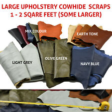 Cowhide scraps - Upholstery leather pieces 1 -2 sq ft   FULL GRAIN LEATHER