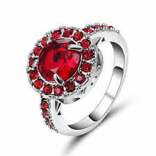 Fashion Size 9 Jewelry Bridal Garnet Silver Rhodium Plated Anniversary Ring