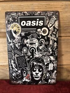 """Oasis Band Collage Tin Metal sign 8""""X12"""" Man-Cave Décor"""