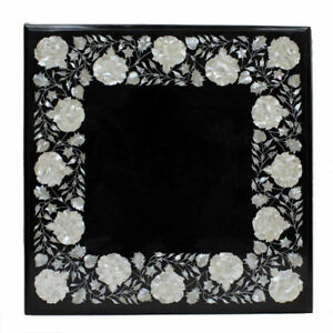 """24"""" x 24"""" Marble coffee table top inlay work pietra dura marquetry home decor"""
