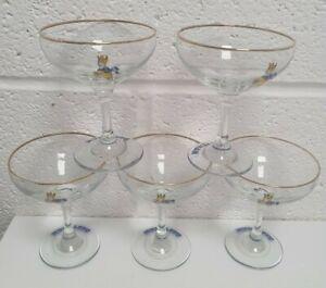 Set of 5 Vintage Babycham Glasses 1970s Glass Bundle Joblot Retro Bar Party #554